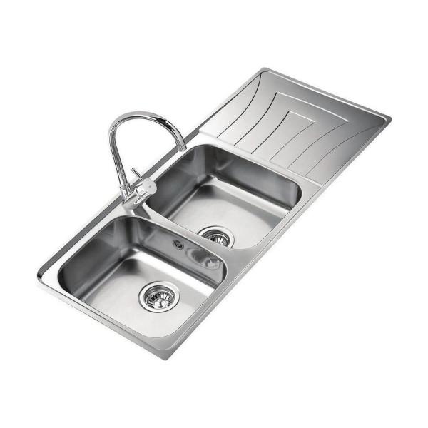 Chậu rửa bát dương bàn bếp TEKA Universo 2B 1D