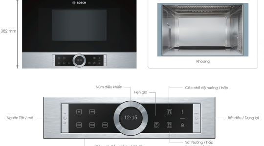 Lò vi sóng Bosch BFL634gs1 – Công nghệ Không đĩa xoay cao cấp