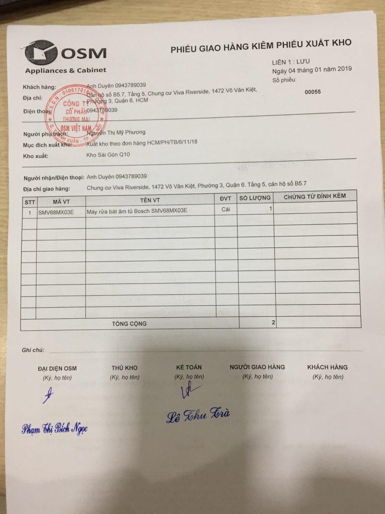 Phiếu giao hàng kiêm phiếu xuất kho OSM