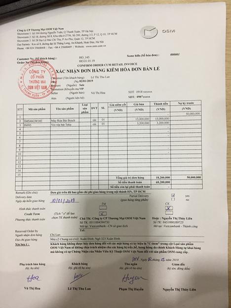 Phiếu xác nhận đơn hàng kiêm hóa đơn bán lẻ